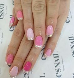 Ombre pink with silver tips