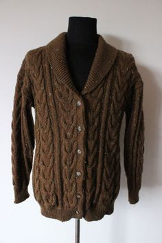 MENS Vintage Cardigan JUMPER knitwear knitted knit trendy hipster WOOL brown S