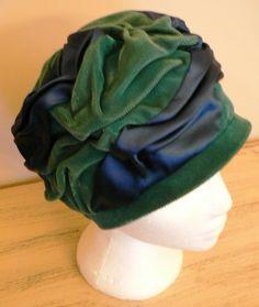 vintage hats   Blue Satin Green Velvet LADY by LandLockedCottage, $235.00