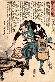 Kuniyoshi, The Faithful Samurai 18 - Teraoka Hei-emon Noboyuki Extinguishing a Fire in a Brazier-Japanese woodblock prints, ukiyo-e art, Kuniyoshi, Faithful Samurai, 47 Ronin, shogun, Teraoka Hei-emon Noboyuki