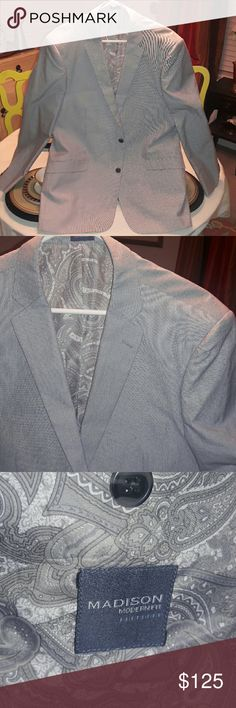 😎 MADISON Modern Fit Blazer / Sport Coat This awesome Madison Modern Fit blazer has a refined seersucker look. Classic, clean cut and cool for spring and summer. A fashionable guy already knows this is one piece that really needs no introduction. It speaks on its own. In like new condition. Madison Suits & Blazers Sport Coats & Blazers