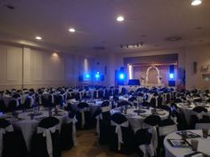 Elegant banquet with black chair covers by one of our customers