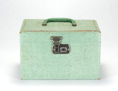 Vintage Box Wooden Teal Train Case Vanity by thevintagetreehouse, $84.32