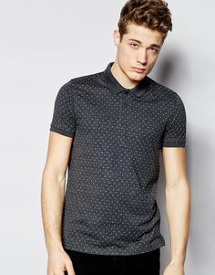 ASOS Polo Shirt In Jersey With Polka Dot Print