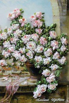 """""""Розы для любимой""""(вышивка лентами) - бледно-розовый,розы,цветы,картины для интерьера"""