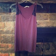 Old Navy Top Purple with black lace detail, Old Navy, medium Old Navy Tops Tank Tops