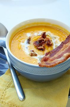 Roasted Squash Soup- I added some roasted red peppers and more spices. I also skipped the cream, but kept the bacon. The bacon really made it!