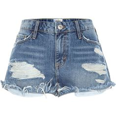 River Island Mid wash distressed Ruby denim shorts ($20) ❤ liked on Polyvore featuring shorts, bottoms, denim shorts, jeans, sale, women, destroyed denim shorts, zipper pocket shorts, short jean shorts and distressed jean shorts