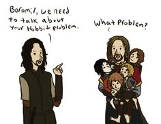 [Boromir and hobbits] *sobs* Boromir, let me love you, you precious baby. <3