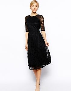 ASOS Midi Dress In Sunflower Lace With Shoulder Detail