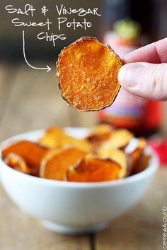 How to make crispy salt and vinegar sweet potato chips with only 3 ingredients and no deep fryer! | #MeatlessMonday #Vegetarian #EMA