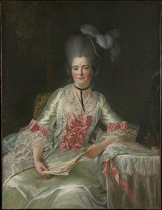 Portrait de Marie Rinteau, dite Mademoiselle de Verrières, à sa table de toilette avec une partition de musique, 1761 François-Hubert Drouais