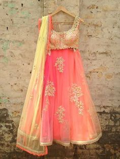 Amrita Thakur Coral Pink & Yellow Gota Embroidered #Lehenga.