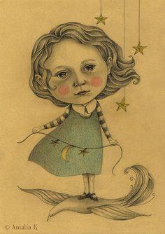 Custom Portrait Drawing in Sephia Tone  Whimsical by TheWishForest,