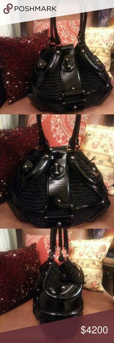 """NWOT RARE ALEXANDER MCQUEEN WOVEN LEATHER SATCHEL Absolutely amazing with practically no signs f use! (That's lint and fur from my coat on the purse. Not scratches). No wear on handles nor corners!! Remarkable bag by late legendary designer and Carrie Bradshaw favorite, Alexander McQueen❤😍😍😍 15"""" L 11""""H 8"""" W. Patent Leather and woven Chainlink netted leather with turnlock flap clasp. Comes with attached coin purse. Alexander McQueen Bags"""