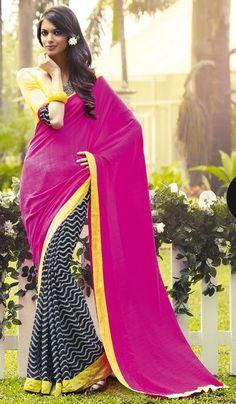 3ba8bff0239c8 G3 Fashions Designer Masaba Gupta Magenta Black Jutte Silk Party Wear  Printed Saree Product Code