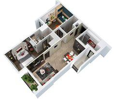 Phối cảnh 3D căn hộ 79m2 2 phòng ngủ