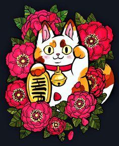 Neko Cat, Maneki Neko, Kitty Cats, Lucky Cat Tattoo, Linocut Prints, Art Prints, Watercolor Painting Techniques, White Kittens, Sleepy Cat