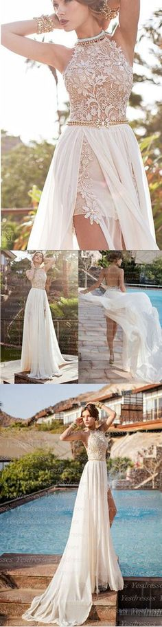 A-line High Neck Lace Bodice Ivory Chiffon Prom Dresses Beach Wedding Dresses Long backless sexy lace prom dress, popular evening dress, prom gown Backless Prom Dresses, Prom Gowns, Sexy Dresses, Dress Prom, Wedding Gowns, Ball Gowns, Evening Dresses, Formal Dresses, Dress Lace