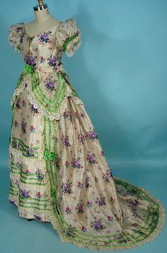 1869   Warp Print Silk 3-piece Trained Ballgown