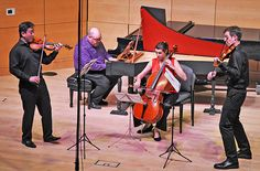 Vivaldi Trio Sonata with Frank Huang and Jesse  Mills, violins; Peter Sykes, harpsichord; and Claire Bryant, cello (Russell Burleigh photo)