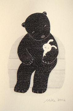 Original Woodland Love illustration PRINT Bear Bunny by mikaart,