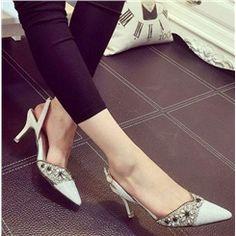Shoespie Rhinestone Point Toe Slingback Dress Sandals