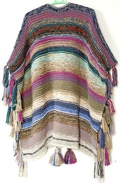 Long poncho Bulky Mexican Unisex Fringed cover-up Handknit urban striped Poncho Gaucho wrap Boho Festive Hippie wear NORTH WIND Knitted Poncho, Crochet Shawl, Knit Crochet, Loose Knit Sweaters, Long Sweaters, Gaucho, Boho Hippie, Oversize Pullover, Knit Rug
