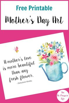 Loving this pretty Mother's Day printable, plus the 10 other free printable Mother's Day cards and gifts here.