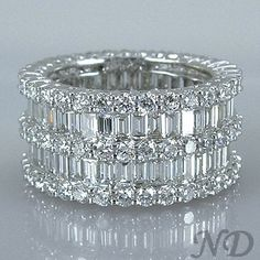 6.47ct. Fashion Baguette Diamond Eternity Wedding Band