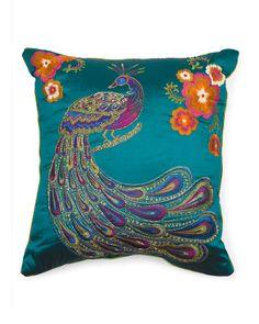 Made In India 24x24 Peacock Applique Pillow - Decorative Pillows - T.J.Maxx