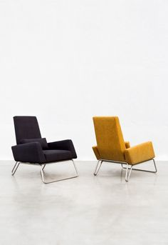 #RBY #BolusArmchair A light armchair reminiscent of a 1970's design that sits on a slender brushed steel frame. Angular and lean, it is perfect for the contemporary home, but will fit in equally well with a classic interior.