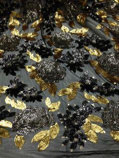 "BLACK STRETCH MESH W/BLACK GOLD  SEQUINS  FABRIC 50"" WIDE 1 YARD"