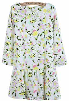 White Long Sleeve Purple Floral Ruffle Dress