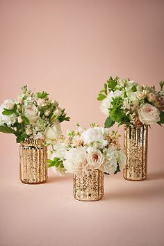 Wedding Flower Decoration Fluted Mercury Vases - With a warm gold tint, crackled mercury glass adds an understated elegance to table tops. Only available at BHLDN Style Mercury Glass Centerpiece, Glass Centerpieces, Centerpiece Decorations, Wedding Decorations, Mercury Glass Wedding, Hurricane Vase, Decor Wedding, Vases Decor, Wedding Vases