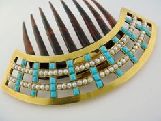 Turquoise and Pearl Horn Comb - France