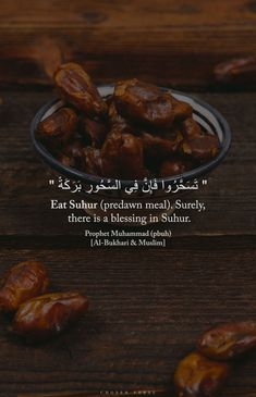 "Anas (May Allah be pleased with him) reported:The Messenger of Allah (ﷺ) said, ""Eat Suhur (predawn meal). Surely, there is a blessing in Suhur. Islamic Inspirational Quotes, Islamic Quotes, Quran Quotes Love, Hindi Quotes, Ramadan Prayer, Islamic Images, Prayer Board, Prophet Muhammad, A Blessing"