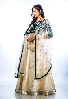 The Mughal Garden  Bottle Green and Ivory Lehenga set with authetic handwork zardozi embroidery from AO by Anita Ojha