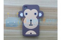 Apple iPhone 4 / 4S Happy Monkey Silicone Protective Case (Brown)