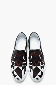 GIVENCHY White & Black Leather-Trimmed Toma Printed Slip-Ons