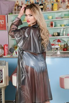 Massive range of womens and mens PVC and plastic clothing. PVC fashion and fetish clothes. Rainwear, raincoats, PVC clubwear, PVC underwear, fantasy clothes and uniforms. PVC bed sheets and accessories. Girls Raincoat, Pvc Raincoat, Yellow Raincoat, Hooded Raincoat, Plastic Raincoat, Black Rain Jacket, Rain Jacket Women, Raincoats For Women, Satin