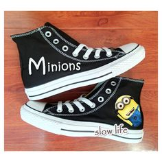 Minion hand-painted shoes/ canvas shoes/Custom canvas shoes/ converse... ($60) ❤ liked on Polyvore featuring shoes, sneakers, converse, 18. converse., 19. converse., green canvas sneakers, green shoes, star shoes, canvas footwear and peak sneakers