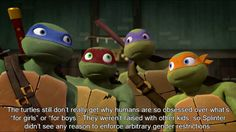 "Headcanons Await! 386 - The turtles still don't really get why humans are so obsessed over what's ""for girls"" or ""for boys."" They weren't raised with other kids, so Splinter didn't see any reason to enforce arbitrary gender restrictions. That's why Raph was a fairy princess for Halloween. When Casey laughed, they didn't really get why it was so funny."