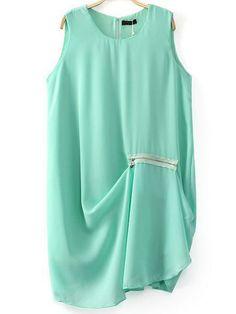 Green Sleeveless Zipper Asymmetrical Dress US$24.03