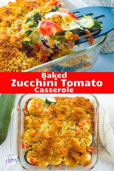 Use up garden zucchini and tomatoes with this yummy vegetarian side dish! This is an easy-to-make baked casserole made with fresh zucchini, tomatoes, and mozzarella cheese that's topped with a yummy Panko bread topping! Tomato Side Dishes, Vegetarian Side Dishes, Vegetarian Italian, Vegetable Dishes, Vegetarian Recipes, Pescatarian Recipes, Vegetable Recipes, Gourmet Recipes, Zucchini Tomato Casserole