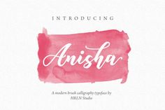 Anisha Script OFF) Fonts **Anisha Script** is a beautiful modern brush calligraphy font. Suitable for logotype design, quotes by HRLN Free Brush Script Font, Brush Font, Script Fonts, Calligraphy Fonts, Modern Calligraphy, Pencil Illustration, Free Design, Hand Lettering, Behance