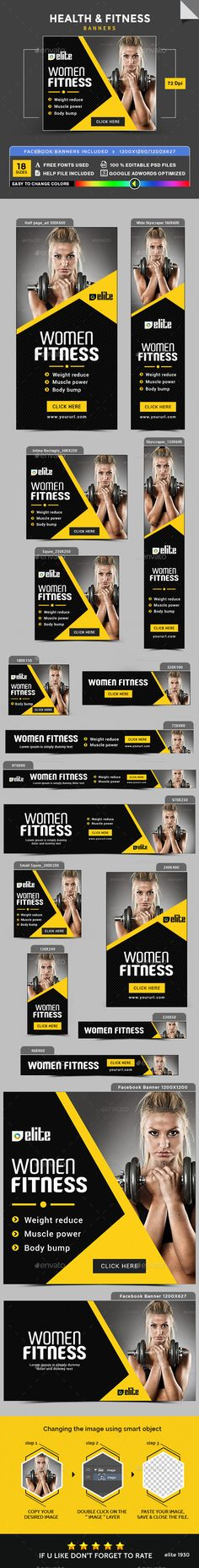 Health & Fitness Banners — Photoshop PSD #studio #flat design • Available here → https://graphicriver.net/item/health-fitness-banners/18519760?ref=pxcr
