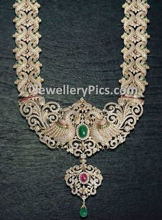Latest Indian Jewellery designs and catalogues in gold diamond and precious stones Indian Wedding Jewelry, Indian Jewelry, Bridal Jewelry, Jewelry Art, Antique Jewelry, Gold Jewelry, Fine Jewelry, Jewelry Design, Diamond Jewellery