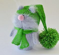 Lincoln Grey Cat in Green Hat  Hand-Knitted cat by MiracleStore