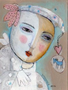 Mixed Media Painting Original Modern Abstract Woman spirit face pony imagination by kittyjujube on Etsy